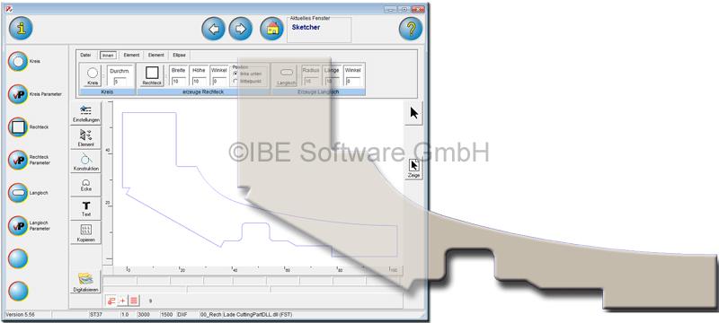 Sketcher 2D CAD Modul for cncCUT - CNC Programming - Nesting Software